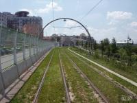 Прага. Трамвайная ветка к Sidlishte Barrandov (вид на конечную остановку Sidlishte Barrandov)
