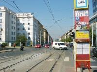 Прага. Остановка Vapenka, улица Konevova, ответвление к депо Жижков