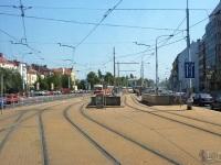 Прага. Путевое развитие трамвайной остановки Станция метро Hradchanska