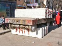 Одесса. Трамвайная тележка выполняет неопознанную функцию на новоотремонтированной Преображенской улице