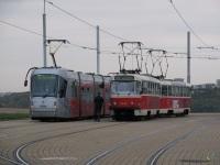 Прага. Škoda 14T №9164, Tatra T3 №8442, Tatra T3 №8448