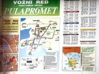 Пула. Расписание движения (Vozni Red) и схема маршрутов (Gradske Bus Linije) Пулы