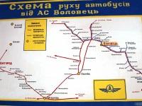 Воловец. Схема движения автобусов от автостанции Воловец