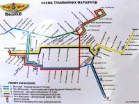 Николаев. Схема трамвайных маршрутов Николаева