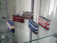 Таганрог. Модели различных двухэтажных трамваев, выполненные в масштабе 1:87