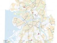 Санкт-Петербург. Схема троллейбусной контактной сети Санкт-Петербурга (с указанием маршрутных, служебных и заброшенных линий, а также существующих троллейбусных маршрутов) по состоянию на июль 2009 года