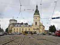 Львов. Трамвайная развилка на ремонтируемом участке путей