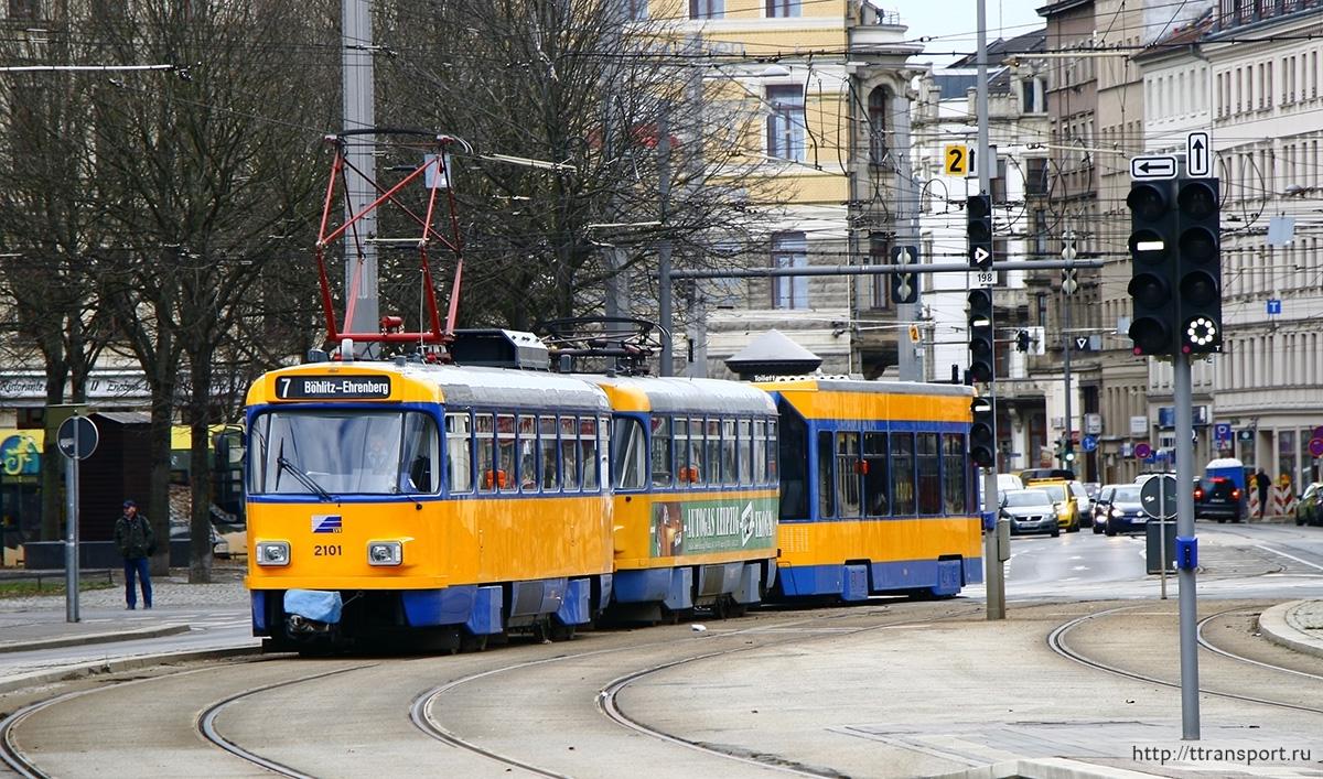 Лейпциг. Tatra T4 №2101, Tatra T4 №2057, Bombardier NB4 №914