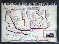 Одесса. Схема трамвайных маршрутов Одессы в остановочном павильоне