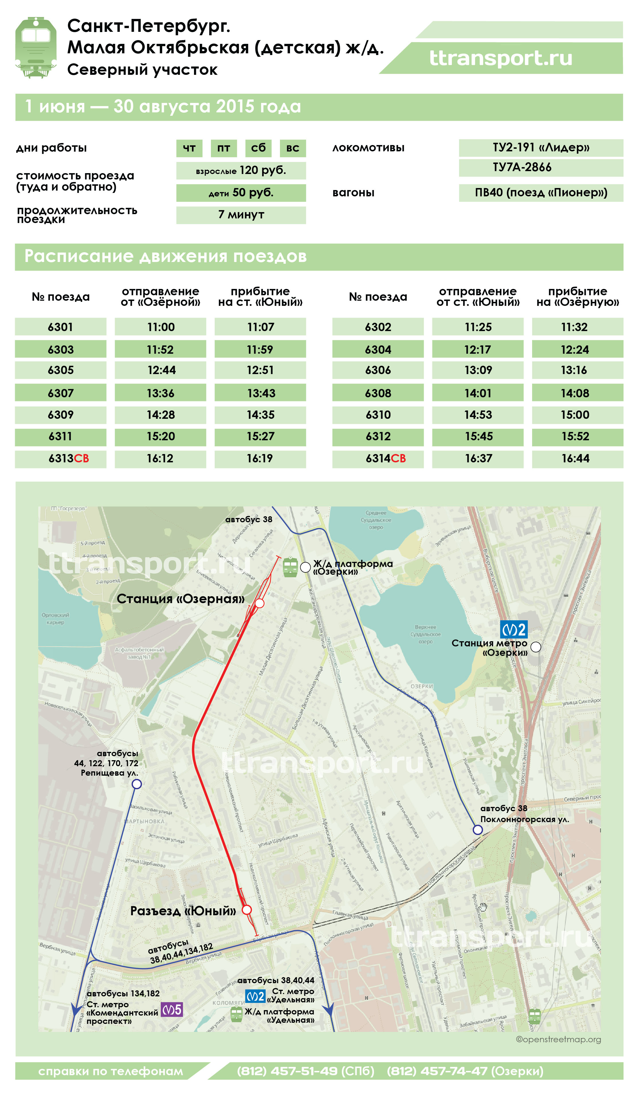 Санкт-Петербург. Расписание и схема движения поездов на Северном участке малой Октябрьской железной дороги (сезон 2015 года)