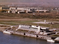 Комсомольск-на-Амуре. Вид с вертолета на конечную остановку Речной вокзал
