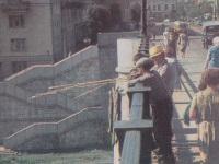 Тверь. Трамвайная линия на Новый Волжский мост и трамвай Tatra T3 (двухдверная), въезжающий на мост