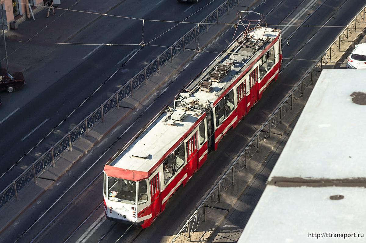 Санкт-Петербург. Трамвай 71-147К (ЛВС-97К) № 1030, маршрут 49