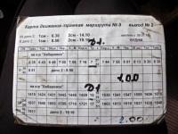 Хабаровск. График движения трамвая маршрута № 9, разрывной выпуск № 2 от депо № 2