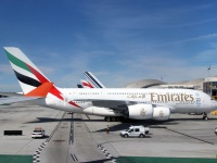 Лос-Анджелес. Самолет Airbus A380 (A6-EOD) авиакомпании Emirates Airline
