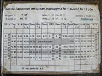 Хабаровск. График движения трамвая маршрута № 1, односменный выход № 13 (от депо № 2; по выходным дням)