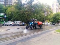 Москва. Очистка трамвайных путей