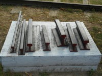 Брест. Образцы рельс разных типов железных дорог