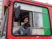 Алёна Кисель в кабине троллейбуса АКСМ-20101 № 127
