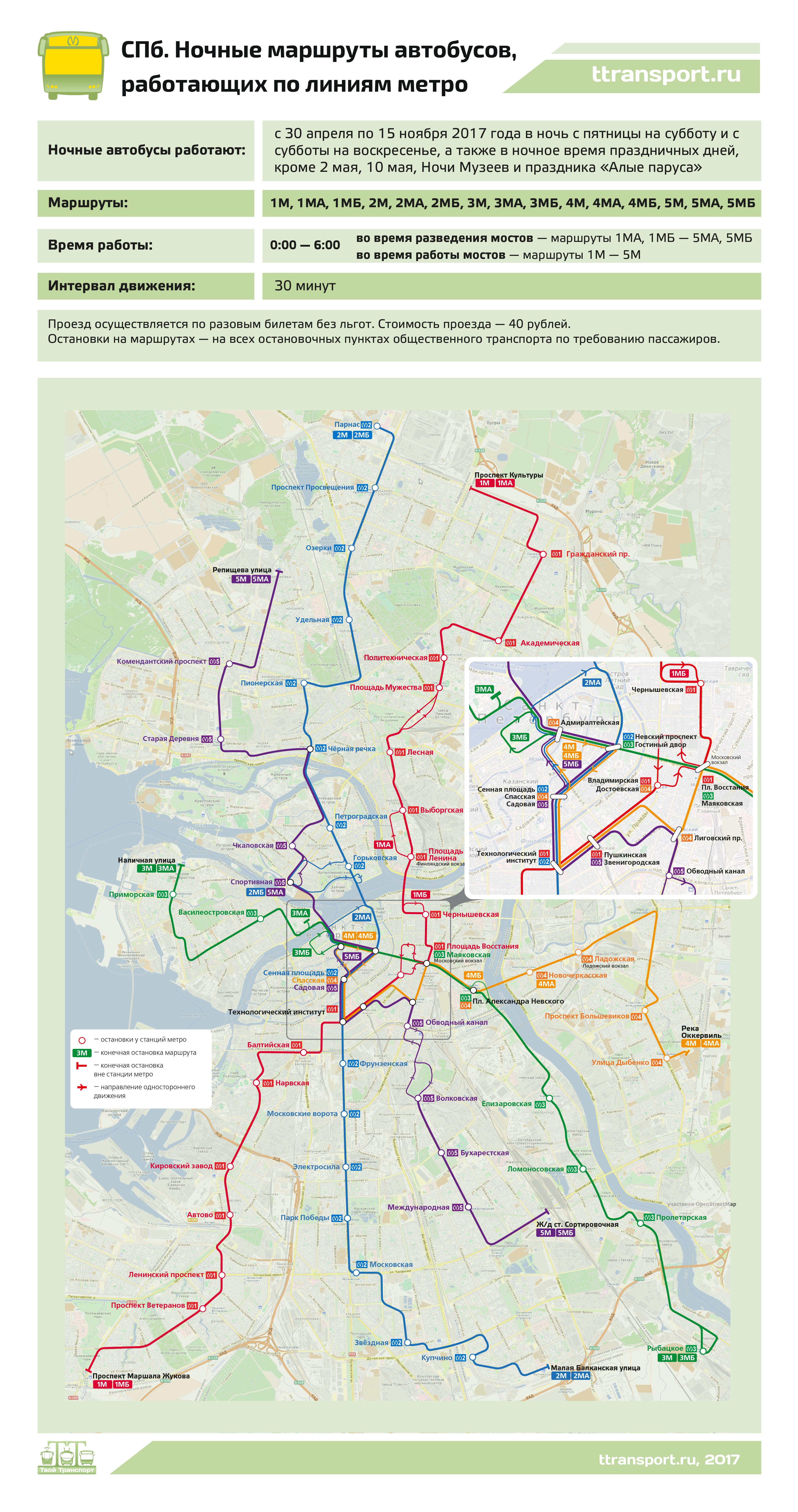 Санкт-Петербург. Ночные маршруты автобусов, работающих по линиям метро