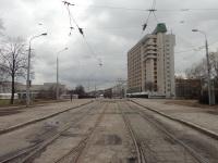 Минск. Трамвайная линия по Октябрьской улице, вид со стороны Ульяновской улицы