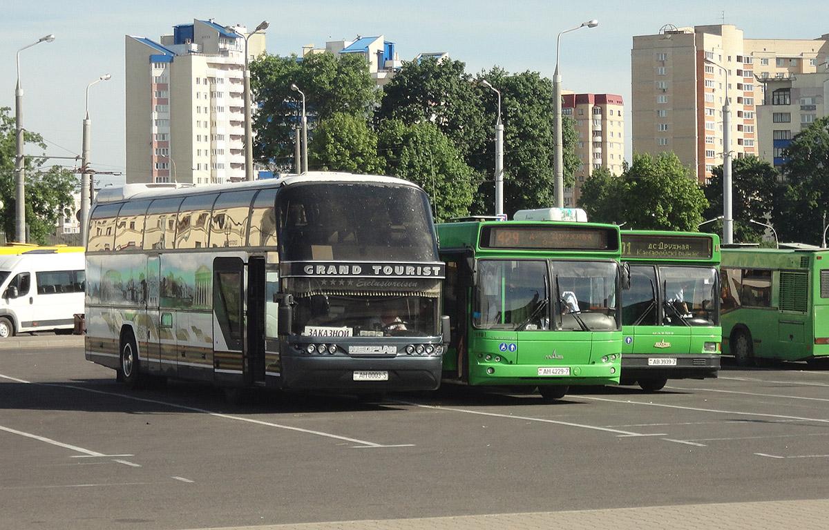 Минск. МАЗ-103.065 AB3939-7, МАЗ-103.562 AH4229-7, Neoplan N117 Spaceliner AH0003-5
