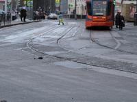Москва. Трамвайные пути в Протопоповском переулке и улице Гиляровского (налево неиспользуемые пути в сторону Рижского вокзала)