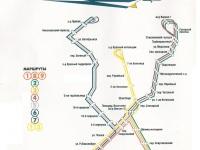 Таганрог. Схема маршрутов трамвайного движения