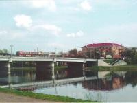 Великие Луки. Автобус Ikarus-256 на мосту через реку Ловать