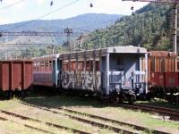 Боржоми. Пассажирские (№ 034 и 046) и грузовые вагоны, используемые на узкоколейной линии Боржоми - Бакуриани