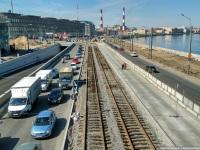 Санкт-Петербург. Строительство трамвайных путей на Синопской набережной