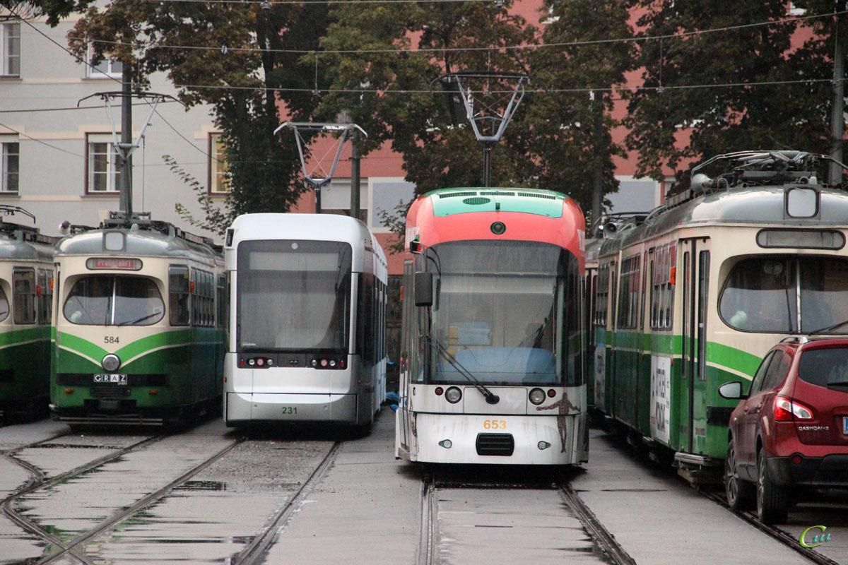 Грац. Stadler Variobahn №231, Bombardier Cityrunner №653, SGP GT8 №584