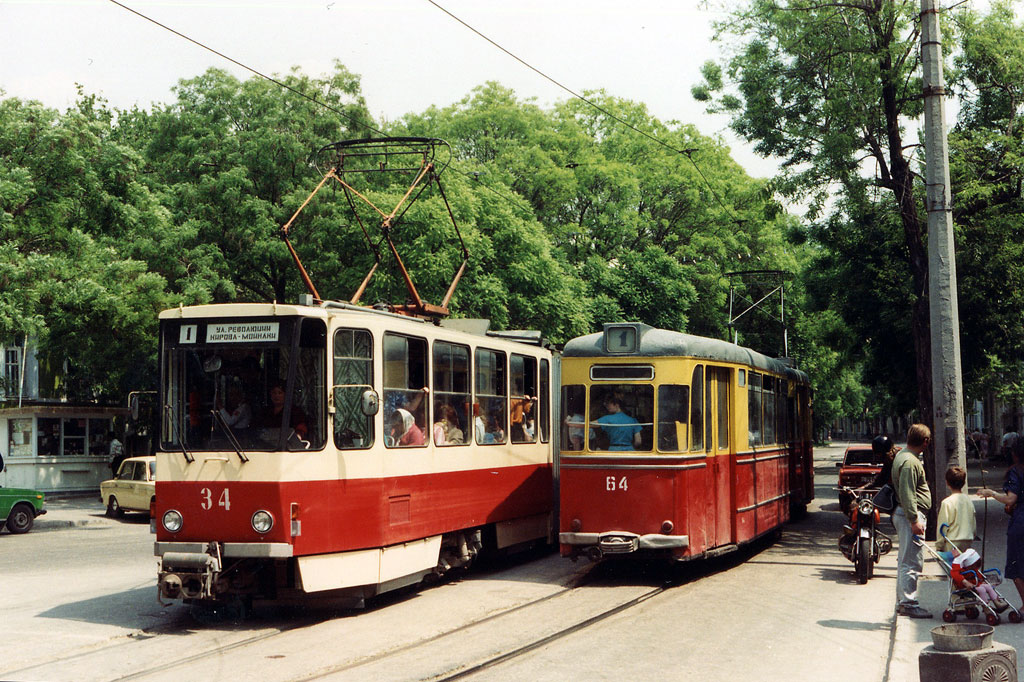 Евпатория. Tatra KT4SU №34, Gotha T59E №20, Gotha B59E №64
