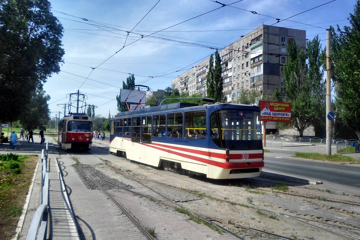 Мариуполь. К1М №308, Tatra T3A №722