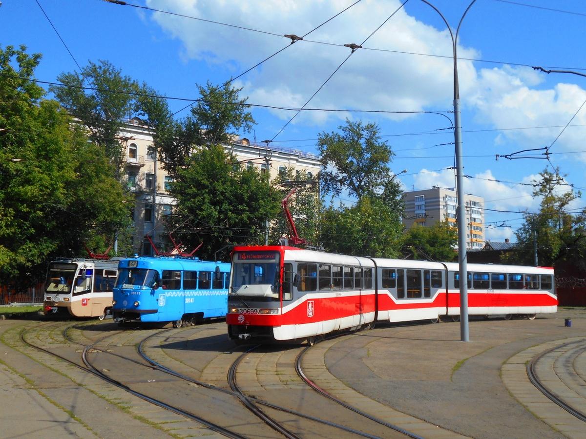 Москва. 71-621 (КТМ-21) №1005, Tatra T3 (МТТЧ) №30141, Tatra KT3R №30699