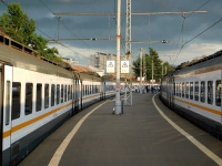 Москва. Пригородная платформа вокзала