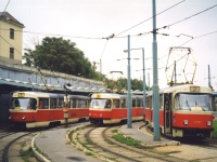 Братислава. Tatra T3SU №7717, Tatra K2 №7074, Tatra T3SUCS №7787