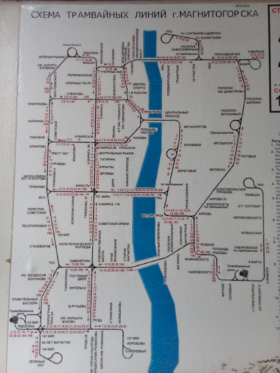 Магнитогорск. Схема трамвайных линий города