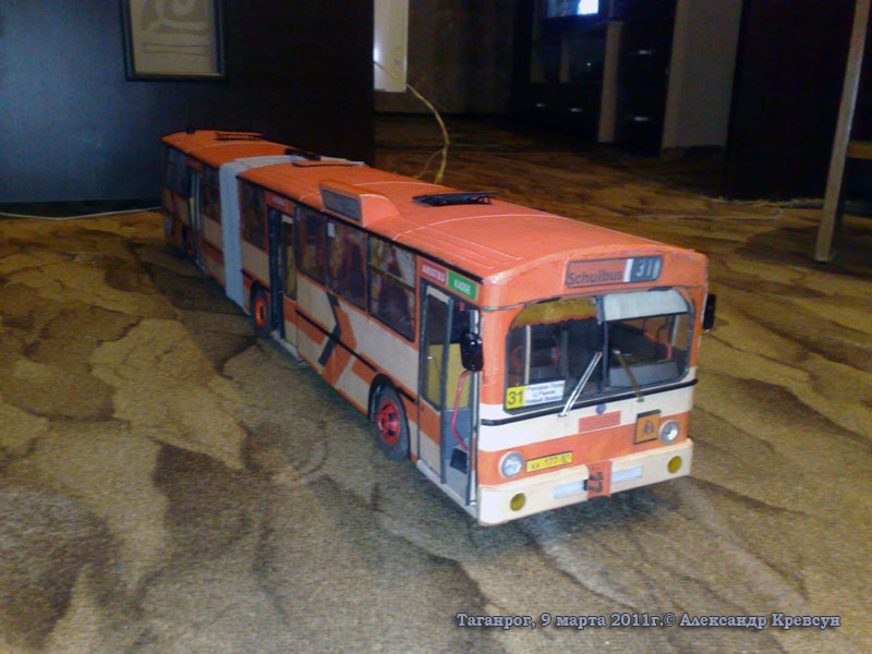 Таганрог. Модель автобуса Mercedes-Benz O305G (с вымышленным госномером аа177-61rus)