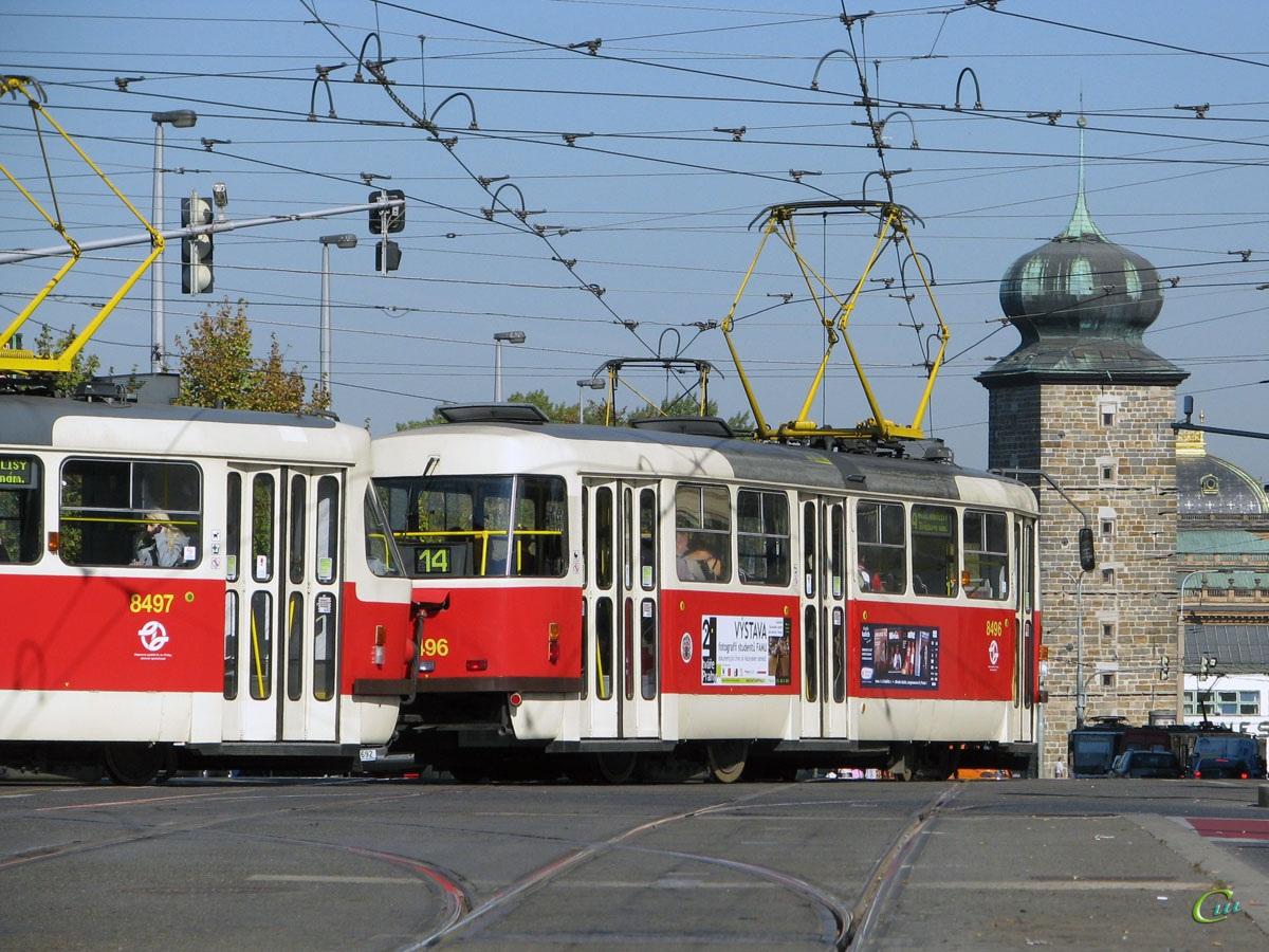 Прага. Tatra T3 №8496, Tatra T3 №8497