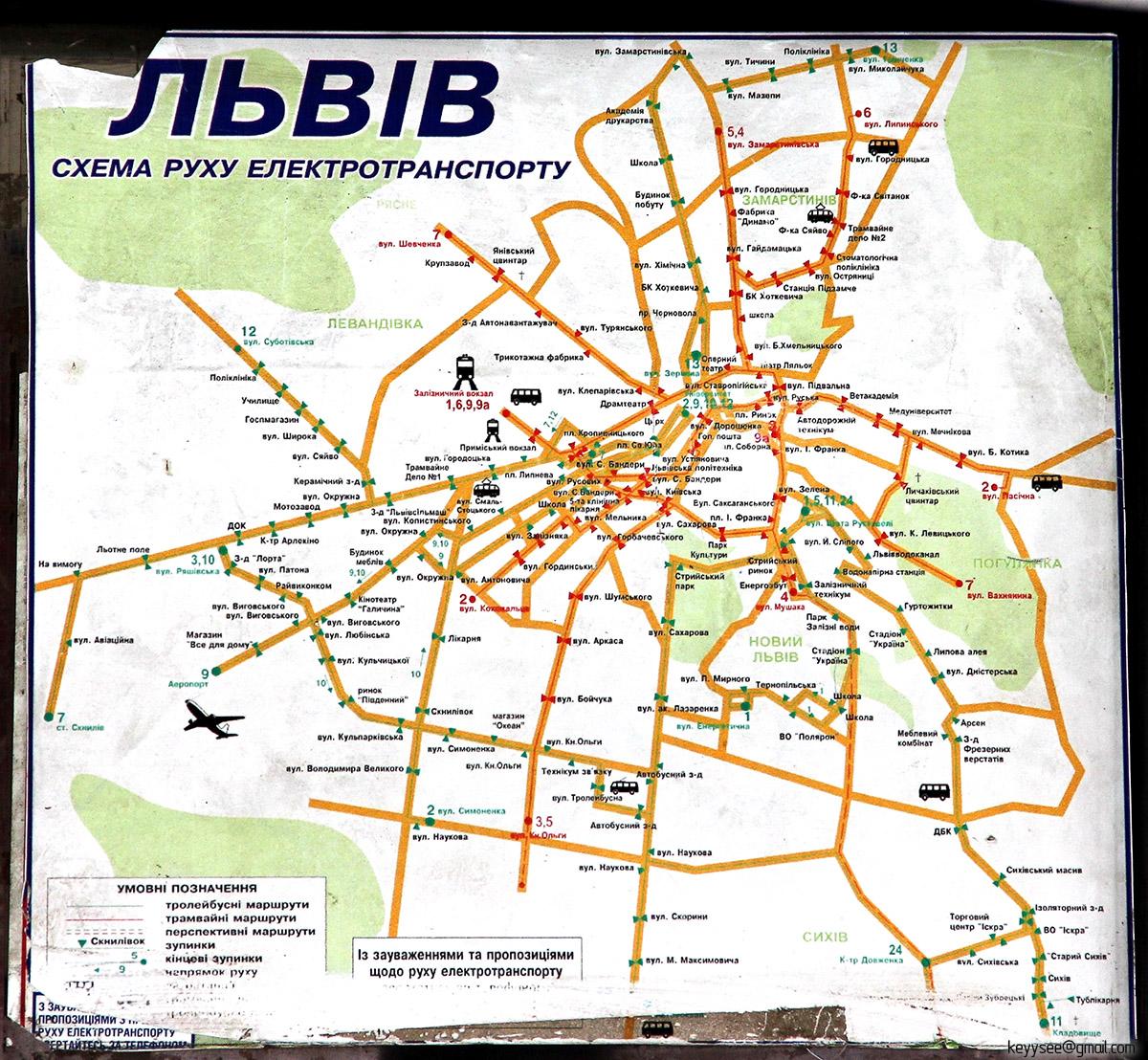 Львов. Схема движения электротранспорта Львова, размещаемая внутри трамваев и троллейбусов города