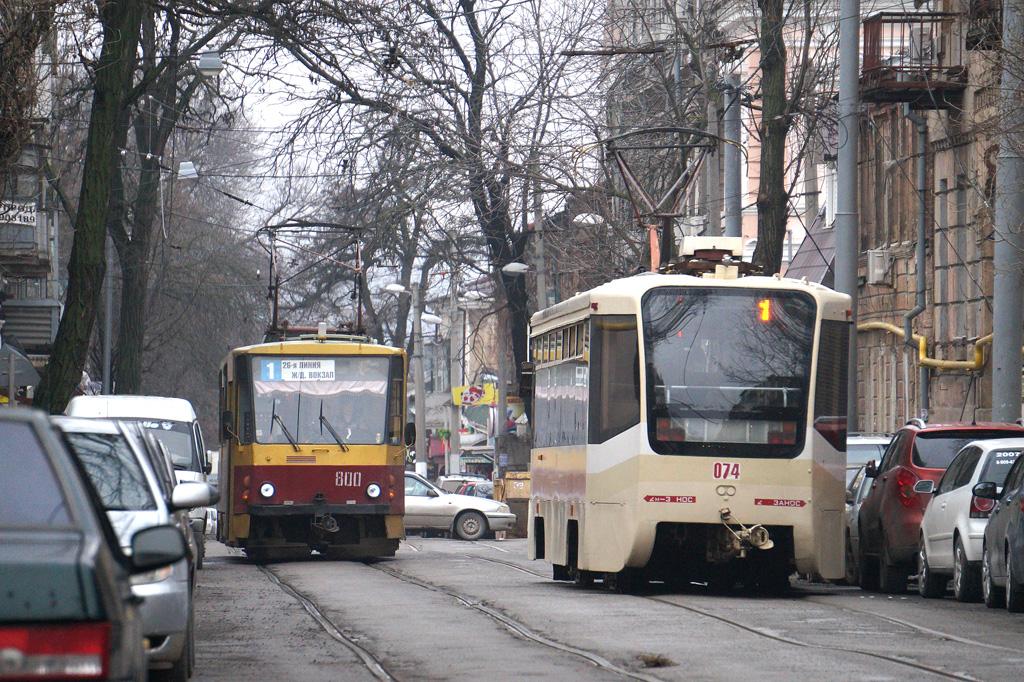 Ростов-на-Дону. 71-619К (КТМ-19К) №074, Tatra T6B5 (Tatra T3M) №800