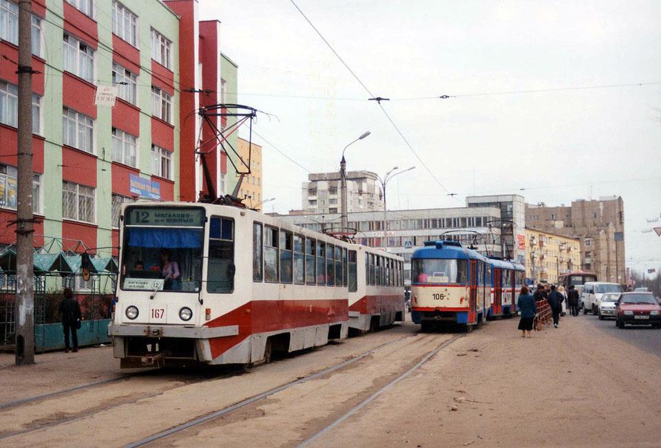 Тверь. 71-608К (КТМ-8) №167, 71-608К (КТМ-8) №165, Tatra T3SU №105, Tatra T3SU №106