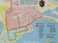 Евпатория. Схема трамвайных маршрутов города Евпатория