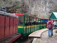 Апшеронск. Узкоколейный тепловоз ТУ8-0427 с составом из двух экскурсионных вагонов