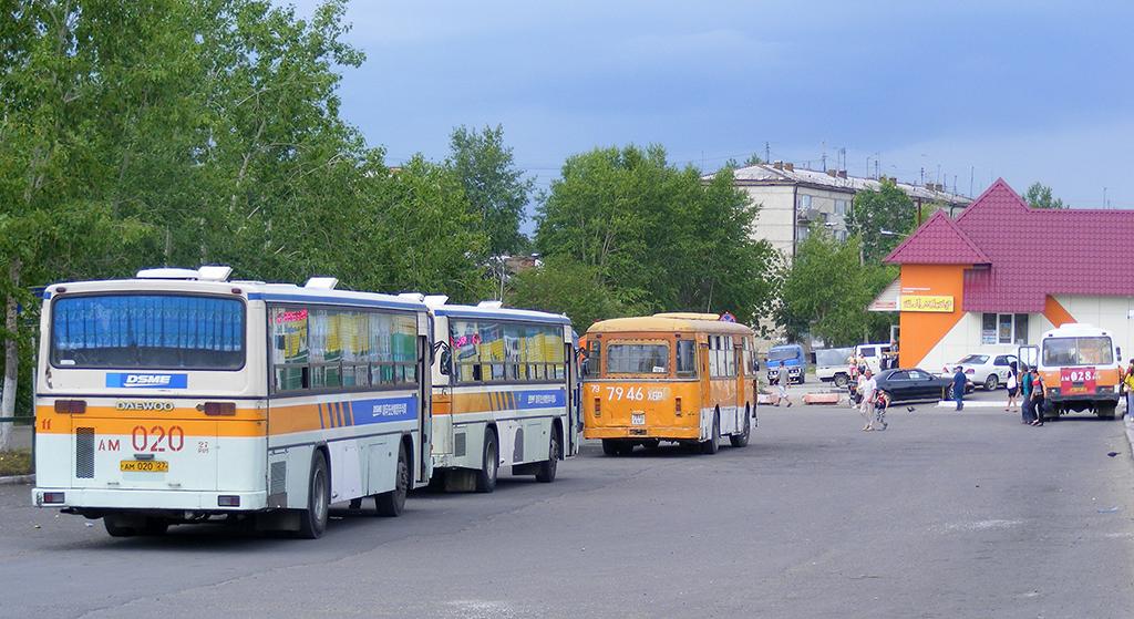 Амурск. ЛиАЗ-677М 7946ХБР, Daewoo BS106 ам020, Daewoo BS106 ам021