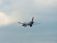 Калуга. Именной самолёт Sukhoi Superjet 100-95LR № RA-89095 Иртыш авиакомпании Азимут, следующий рейсом А4523 Сочи-Калуга