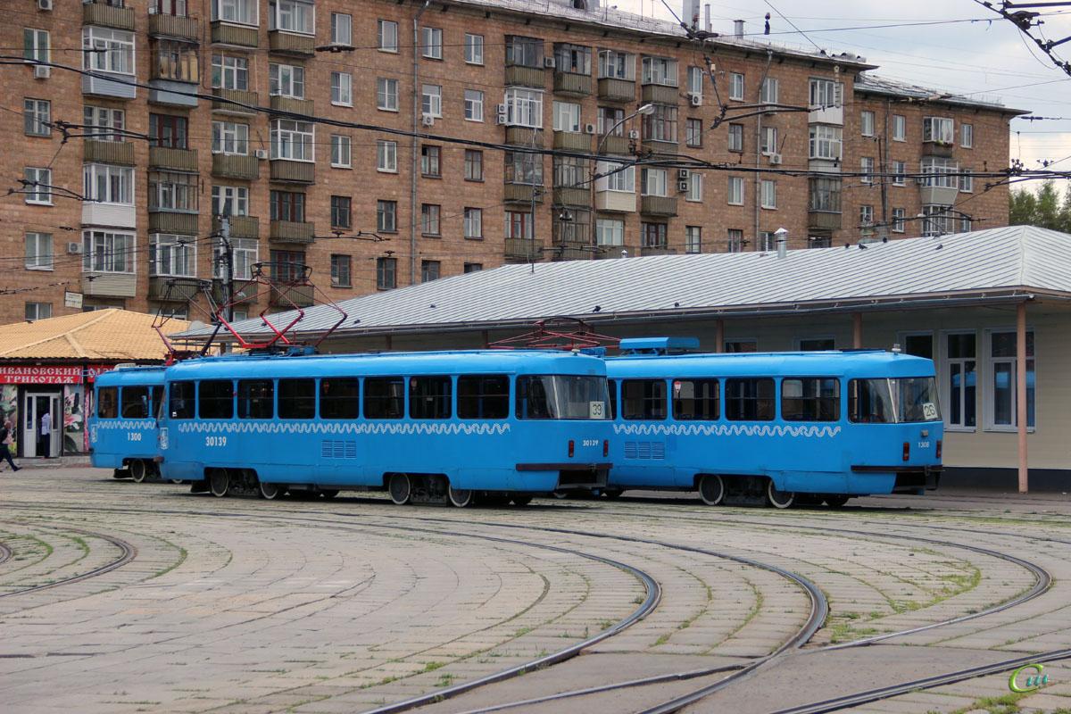 Москва. Tatra T3 (МТТЕ) №1300, Tatra T3 (МТТЕ) №1308, Tatra T3 (МТТЧ) №30139