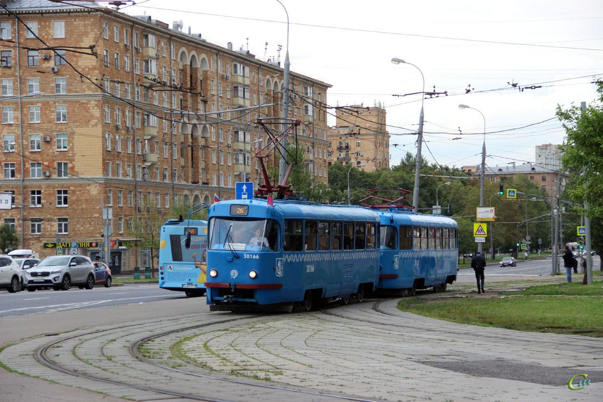 Москва. Tatra T3 (МТТЧ) №30166, Tatra T3 (МТТЧ) №30167