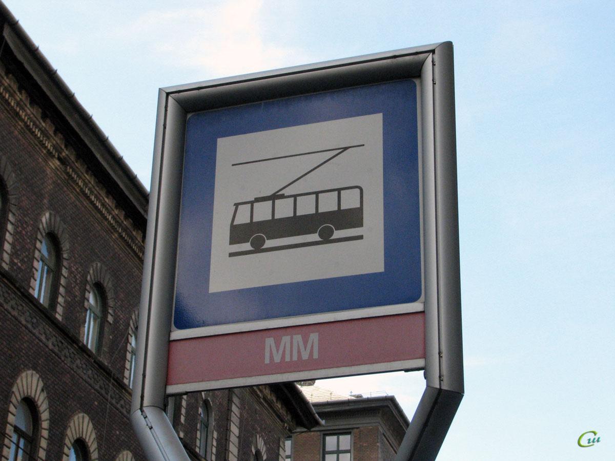 Будапешт. Знак троллейбусной остановки